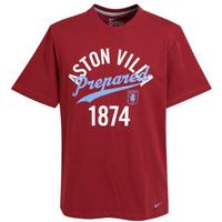 Aston Villa Core Cotton T-Shirt - Team Red/Dark Grey Heather