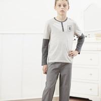 Click to zoom in on Aston Villa Woven Check Pyjamas - Charcoal/ Grey Marl - Boys