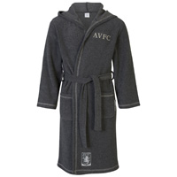 Click to zoom in on Aston Villa Hooded Robe - Charcoal - Boys