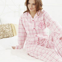 Click to zoom in on Aston Villa Woven Check Pyjamas - Pink - Womens