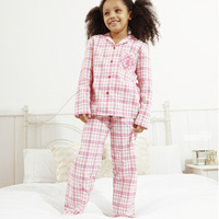 Click to zoom in on Aston Villa Woven Check Pyjamas - Pink - Girls
