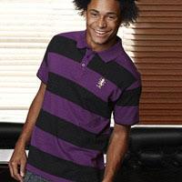Click to zoom in on Aston Villa Fashion Broad Stripe Polo Shirt - Purple/Black