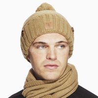 Click to zoom in on Aston Villa Heavy Knit Button Hat - Sand