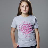Click to zoom in on Aston Villa Graphic T-Shirt - Light Grey Marl/Bright Pink - Girls