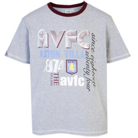 Click to zoom in on Aston Villa Graphic T-Shirt - Light Grey Marl/Claret - Boys