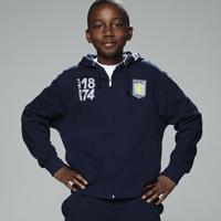 Aston Villa Zip Through Hoodie - Navy/Sky/Optic White - Boys