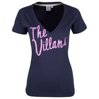 Aston Villa Deep V Fitted Villans T-Shirt - Navy/Purple - Womens
